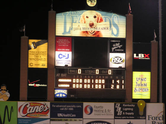 The final score - Lexington Legends win!